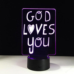 Hot sale God Loves You 3D Optical Illusion Lamp Night Light DC 5V USB 5th Battery Wholesale Dropshipping Free Shipping