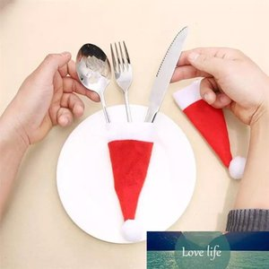 100pcs Christmas hat pull brush cap 6X13cm for knife and fork set table wine bottle decoration Party