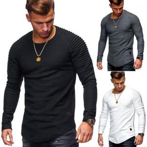 Ropa de la camiseta de rayas plisado mangas raglán de los hombres de la Venta de los hombres s ropa de cuello redondo delgado de color sólido de manga larga