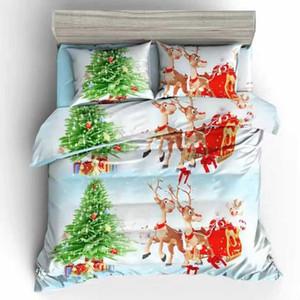 Happy Christmas Reindeer 4Pcs Print Cotton Wedding Bedding Set King Size Comforter Bed Set