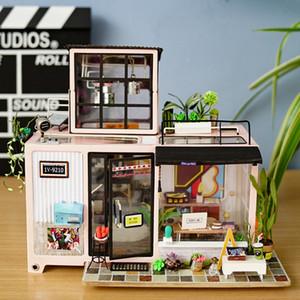 ستوديو Robotime جديد DIY كيفن مع أثاث الأطفال الكبار مصغرة خشبي بيت الدمية بناء نموذج مجموعات دمية لعبة DG13 CX200815