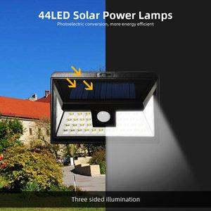44 LED alimentato solare luci esterne di movimento della lampada del sensore con 3 livelli d'illuminazione opzionale, 270 gradi di angolo di giardino Veranda
