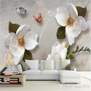 Custom 3D Wall Murals Wallpaper European Style Retro Flower Butterfly Desktop Wallpaper For Living Room TV Backdrop Wall Mural
