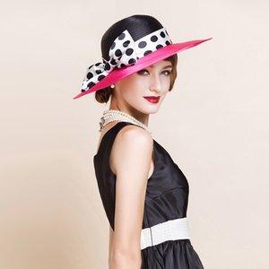 Солома Солнцезащитного Hat Женщина Весна Лето защита ВС Cap Bowknot волновая точка Wide обрезного Зонт Мода Козырек Lady Шляпа H6594