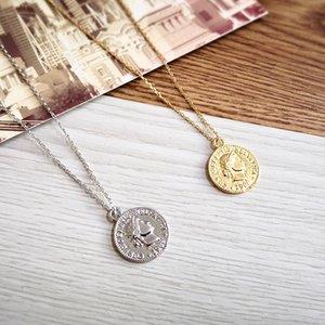 Kadınlar Moda Altın Gümüş Renk Figur Medallion kolye Uzun Kolyeler Boho Takı için Coin Kolye Oyma 2020 Basit Vintage