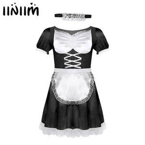 iiniim Mens Sissy French Maid Uniform Fancy Dr Sexy divertenti costumi Clubwear Parti raso Dr con Girocollo e fascia