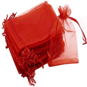 Grandi Dimensioni 100pcs / 20x30cm 40x60cm 35x50cm rosso Organza Sacchetti dei monili regalo coulisse Packaging Borse Applicare a Wedding / compleanno / Natale