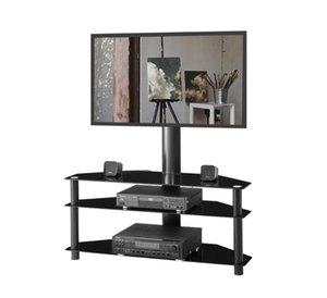 EU Stock Preto ficar suporte LCD TV Suporte Plasma três camadas de altura prateleira de vidro ângulo ajustável vidro temperado TV W24104949