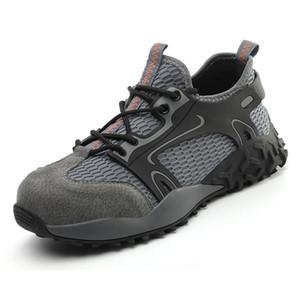 Boots Men Безопасная обувь Стальная ДОЭ Работа Легкая Дышащая для Антисеревой Строительный кроссовки с кожаной верхней