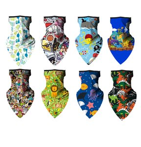 DHL Shipping Breathable Children Cartoon Scarf Boy Girl Face Mask Cover for Outdoor Sports Bandana with Ear Loops