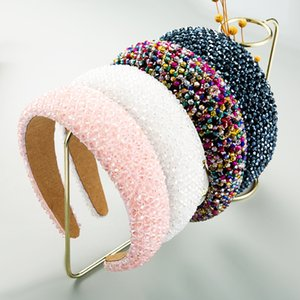 Gorgeous Baroque Full Multi Color Crystal Wide Headband Hand Made Beaded Thin Sponge Hairband Woman Wedding Party Hair Accessory