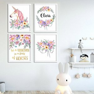 Nombre del bebé cartel personalizado chica Nursery Wall Art unicornio canvas Firma de los floristas Dormitorio impresión de la pintura cuadro de la decoración 6CGl #
