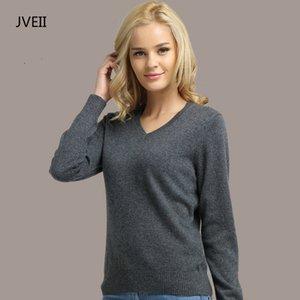 JVEII Frauen Pullover Strick Weiblich Langarm V-Ausschnitt Kaschmir-Pullover und Pullover weiblich Herbst-Winter-dünne Pullover Beiläufige T200831
