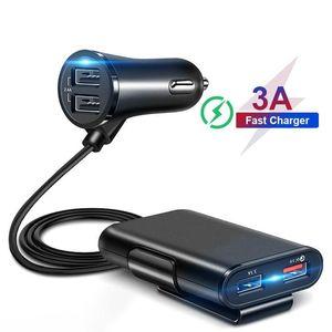 4 Usb Qc 3 0,0 Araç Şarj Quick Charge 3 0,0 Telefon Araba Hızlı Ön Arka Şarj Adaptörü Araç Taşınabilir Şarj Tak için Iphone