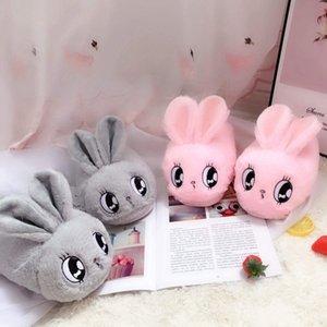 Millffy rosa bonito cinza coelho dos desenhos animados de animais de pelúcia chinelos feminina inverno mulher casa quente coelho slipper