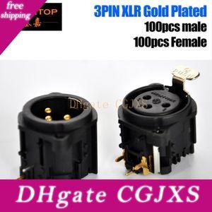 Gigertop 200pcs Neutrik / Seetronic DMX512 Sahne Aydınlatma Ürünleri Xlr Soket Sinyal 3pin Bağlayıcı Altın Kaplama Yatay Pim