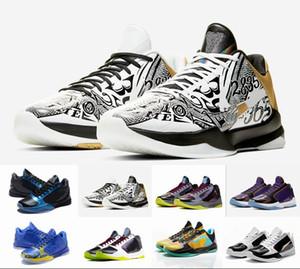 Con scatola da uomo all'aperto Zoom Mamba 5 V ProTro Lakers 5s scarpe da basket di alta qualità Black Mamba cestelli sportivi sportivi Scarpe da ginnastica Designer Sneakers
