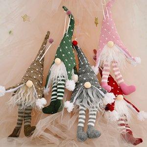 Colgante de la Navidad sin rostro ornamento muñeca de luz LED brilla Colgante Feliz Navidad Árbol de pierna larga sin rostro de la muñeca del partido Decoración FFA4324