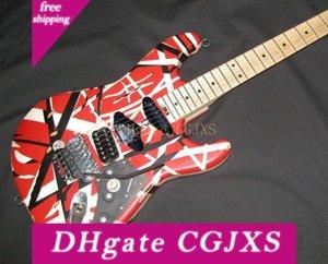 Редкие Aged Relic Eddie Van Halen Полосатый серии Красный Черный Белый гитара Frankenstrat Модифицированный Reliced Vintage Электрическая гитара ж / Case