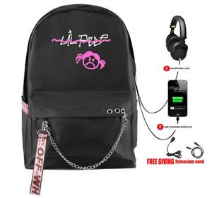 Heißer Verkaufs-Rap Lil Peep Rucksack USB aufladbare Schulranzen Art und Weise Frauen Schulterreisetasche Drucken Hip Hop Teenager Girls021