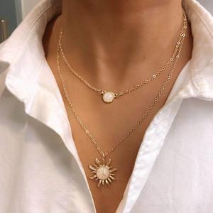 2 طبقة قلادة قلادة زهرة الشمس متعدد الطبقات أنثى الأزياء أوبال عظم الترقوة سلسلة سبيكة البوهيمي عباد الشمس قلادة سلسلة طويلة