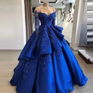 분리 스커트 럭셔리 파란색 세련된 롱 이브닝 드레스 특별 행사의 드레스와 새로운 볼 가운 긴 소매 로얄 블루 댄스 파티 드레스
