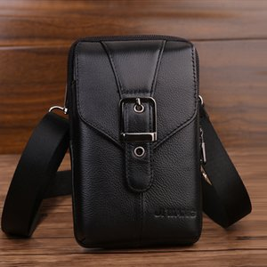 Genuine Leather Men's Belt Phone Bags Waist Wallet Packs Small Bag For Mobile Money Cards Pouch Vertical Shoulder Bags Cowhide