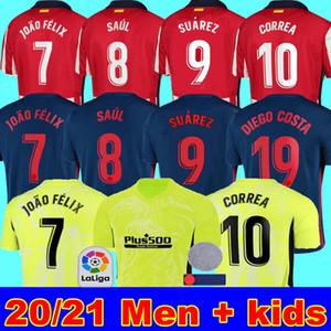 قميص 20 21 اتلتيكو سواريز 9 لكرة القدم الفانيلة مدريد JOAO FELIX 2020 2021 SAUL Camisetas دي فوتبول رجل جيرسي الاطفال كيت DIEGO COSTA كرة القدم