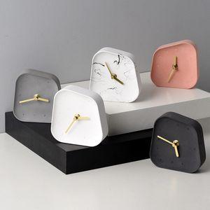 Nordic Геометрия Shaped Cement Настольные часы украшения рабочего Mute Бетон Малый стол часы Домашнее украшение Аксессуары