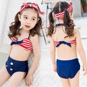 chica linda marino a rayas dividida protector solar bikini bebé blusa de cuatro piezas de cuatro piezas de baño bikini traje de baño w7syd