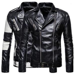 재킷 디자이너 남성 지퍼 캐주얼 재킷 남자 컬러 차단 긴 소매 재킷 봄 가을 패션 PU 가죽 옷깃 목