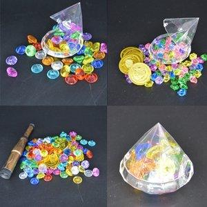 Treasure Hunting Box Дети Treasure Box Ретро Пластиковые игрушки Золотые монеты и Pirate Gems домашний декор день рождения