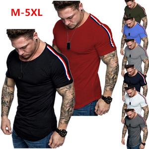 New Summer Casual T-shirt Men Solid Patchwork Slim Fitness Sport Short Sleeve O-NECK Over Size Mens Tshirt Streetwear Men Cloths