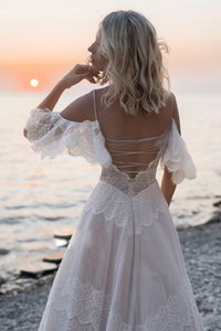 Bohemian Boho Beach Wedding Dresses Nude Champagne Off the Shoulder Bridal Dresses vestidos de renda