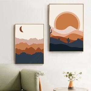 Paisagem Abstrata Boho Poster Lua Sun Pintura Posters Neutral Arte da parede da lona nórdicos Mountains Recados Pictures Home Decor