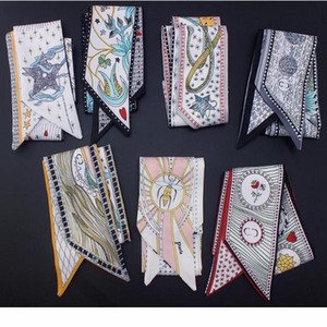HOT 10pcs lot ,The tarot series double printing twill women's scarf beautiful decoration small ribbon Handbag hair Neck  Wrist ribbon mix.