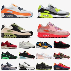 zapatos air max airmax 90 90s off white Top Chaussures Trainers TAMAÑO 12 Zapatillas para correr Moss Green Orange Blue Hombres Mujeres Classic Cushion  Escape Tennis Sneakers