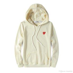 Мужской дизайнерские куртки балахона рубашка красного сердца белого ком де гарсон хлопка капюшон вскользь Ветровка Куртки зимних пальто vêtements