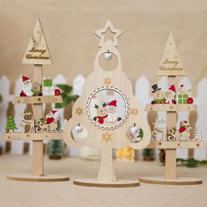 Funny Wooden Christmas Tree Ornaments Creative Painted Party Christmas Desktop Decorations Ornaments