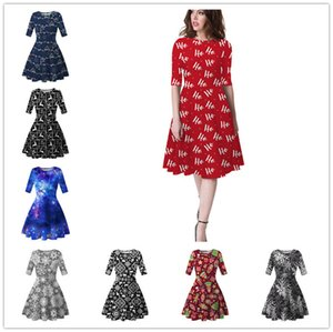 Women Knee Length Dress New Christmas Trees Snowflower Printed Tunic Dresses Half Sleeve Slimming Skirt Xmas Party Dress Clothing S-XL D9304