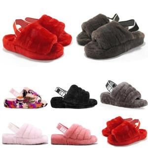 2020 New Furry Slippers ugg Australien Säuglinge Flusen ja gleiten Frauen Freizeitschuhe der Frauen Luxus Sandalen Pelz Slides Hausschuhe Größe 36-44 ylP6 #