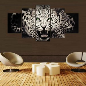 Oil Canvas Painting Modular Picture Wall Art Home Decoration 5 Panel The Leopard For Living Room Modern Printing Type
