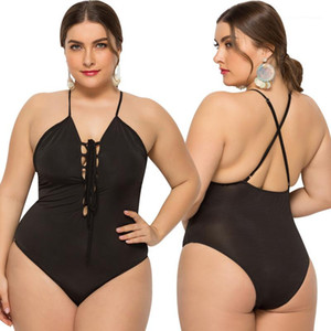 Color Halter Backless One Piece Bikini Casual Women Springs Swimwear Plus Size Women Swimsuit Sexy Black