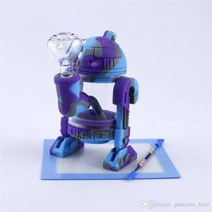 미니 실리콘 14mm 유리 그릇 보호 케이스 유리 흡연 기억 만에 봉 로봇 디자인 유리 물을 봉