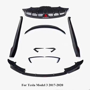 Full set Real Carbon fiber Front lip , rear lip ,side skirt , rear wing , wind knife Fit for Tesla Model 3 Car accessories