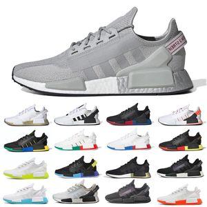 Venta R1 V2 Hombres Mujeres Running Zapatos Metálico Gris Metálico Negro Blanco Core Blue Mens Para Mujer Planes de Moda Deportes Sneakers Runner 3645