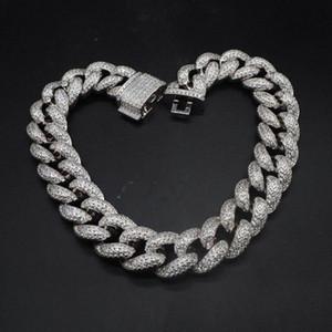Hip hop personnalisé 3row cz bracelet collier glacé Out cz bling 25mm chaîne cubaine chaîne chaînes collier hommes street rock rab bijoux fuih #