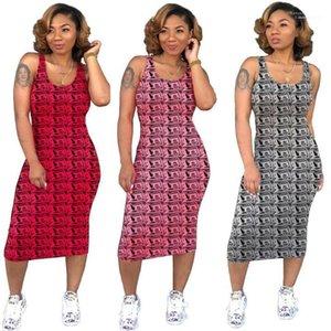 Holiday Fashion Casual Gonna Party Night Abbigliamento Estate scollo denaro stampato a metà polpaccio Abiti Bodycon