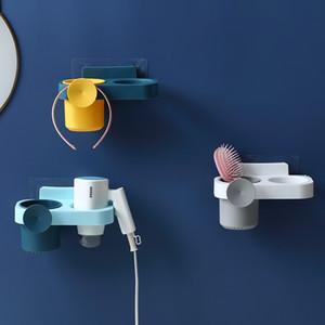 창조적 인 다기능 욕실 스토리지 헤어 드라이어 홀더 샤워 주최자 자체 접착 벽 플라스틱 선반 홀더를 장착