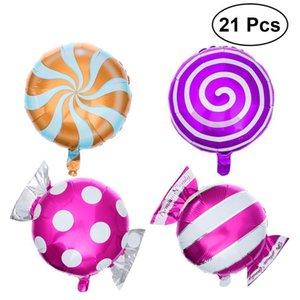 Globo de la hoja 21pcs dulce de caramelo globos redondo LipoP de la boda del cumpleaños decoración del partido